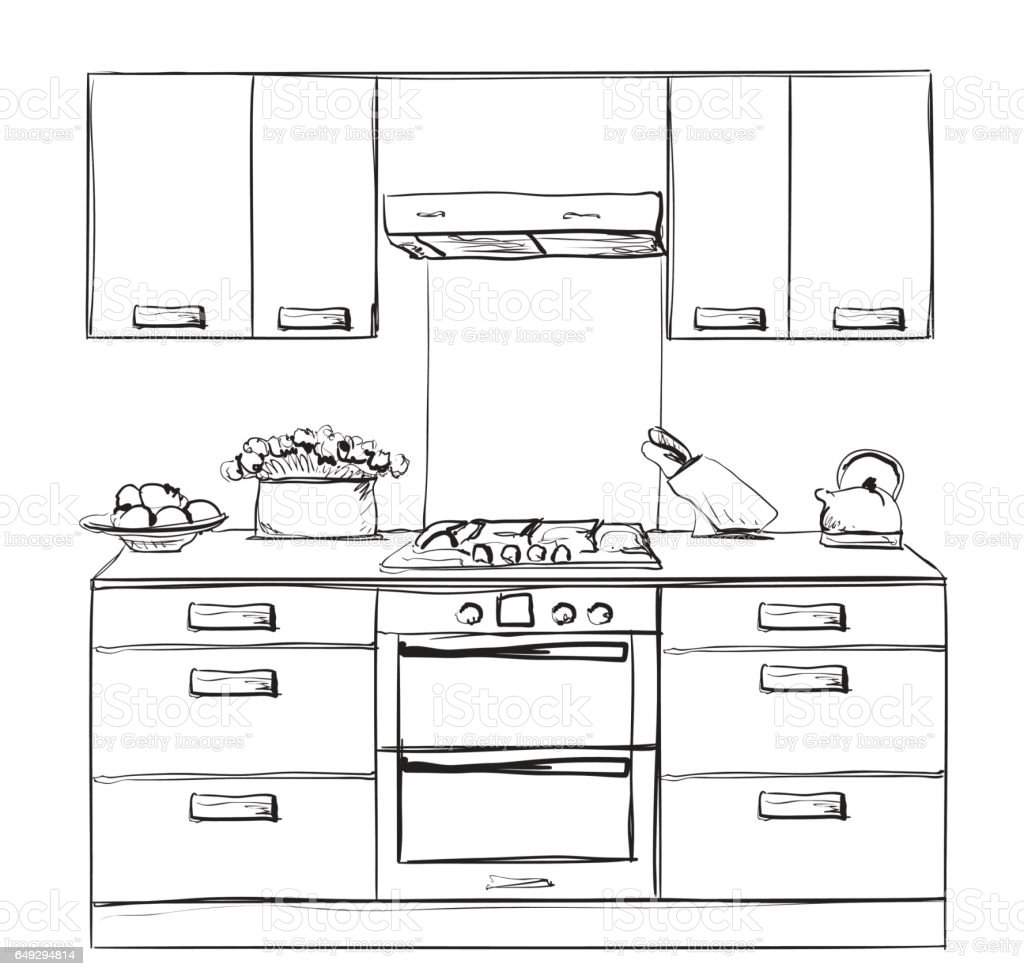 The Kitchen Sink Art Drawing Sketch Sketchbook By: Kitchen Furniture Sketch Hand Drawn Cupboard Stock Vector