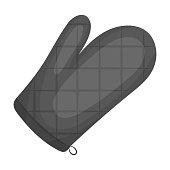 Kitchen glove.BBQ single icon in monochrome style vector symbol stock illustration web.