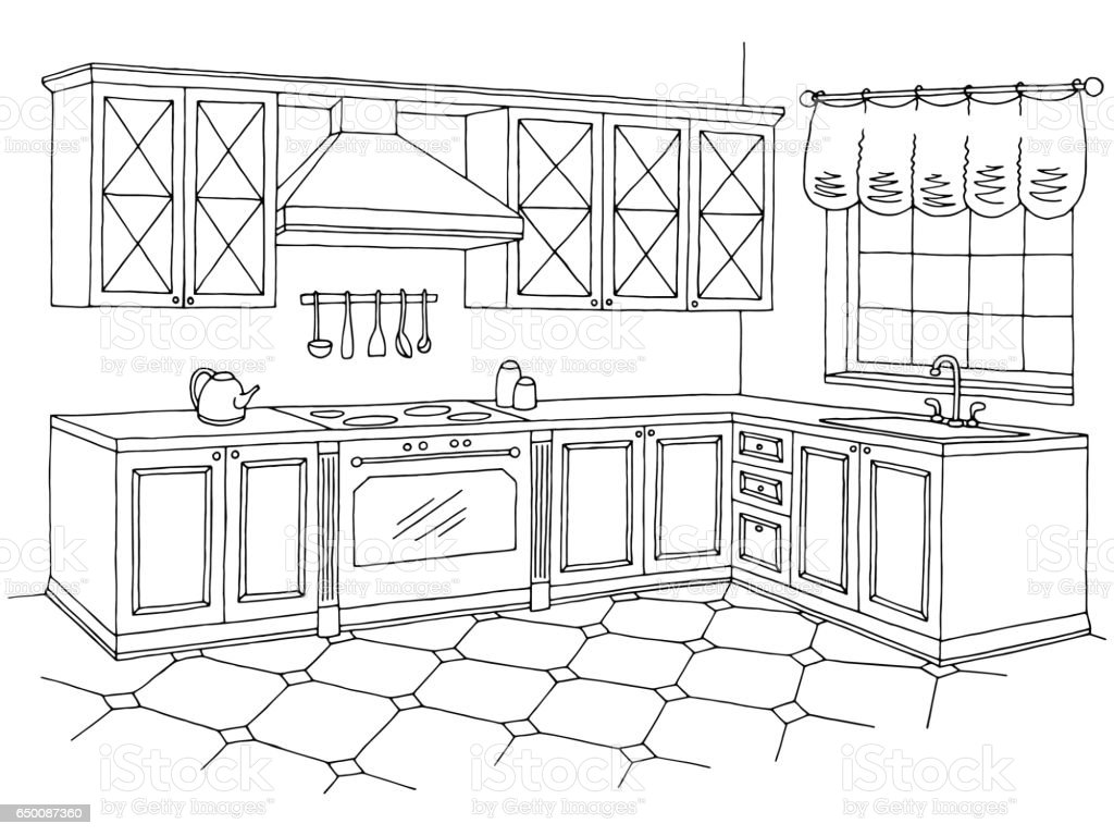 Kitchen graphic room interior black white sketch for Interior design images vector