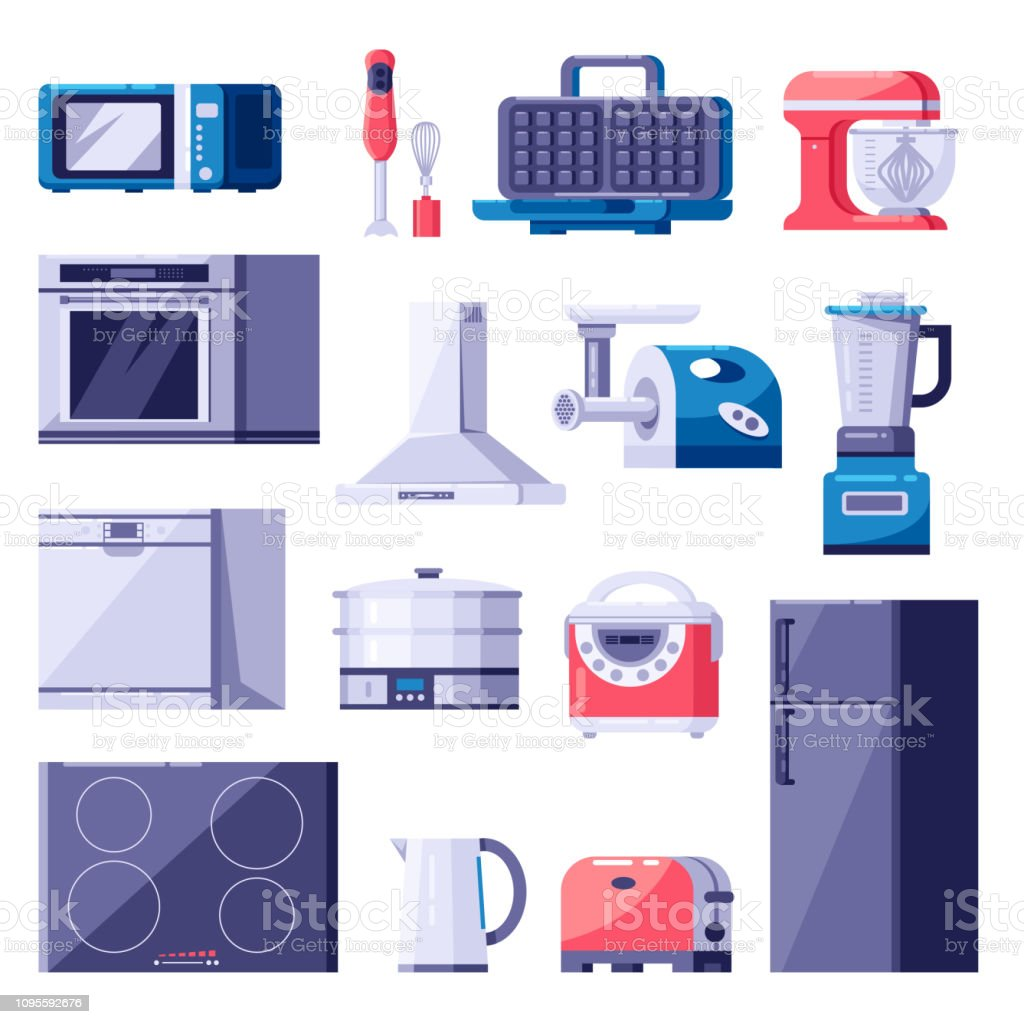 Kitchen Home Appliances Icons And Design Elements Set Cooking Electronics Modern Equipment Vector Flat Illustration Stock Illustration Download Image Now Istock