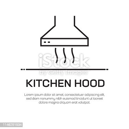 Kitchen Hood Vector Line Icon - Simple Thin Line Icon, Premium Quality Design Element