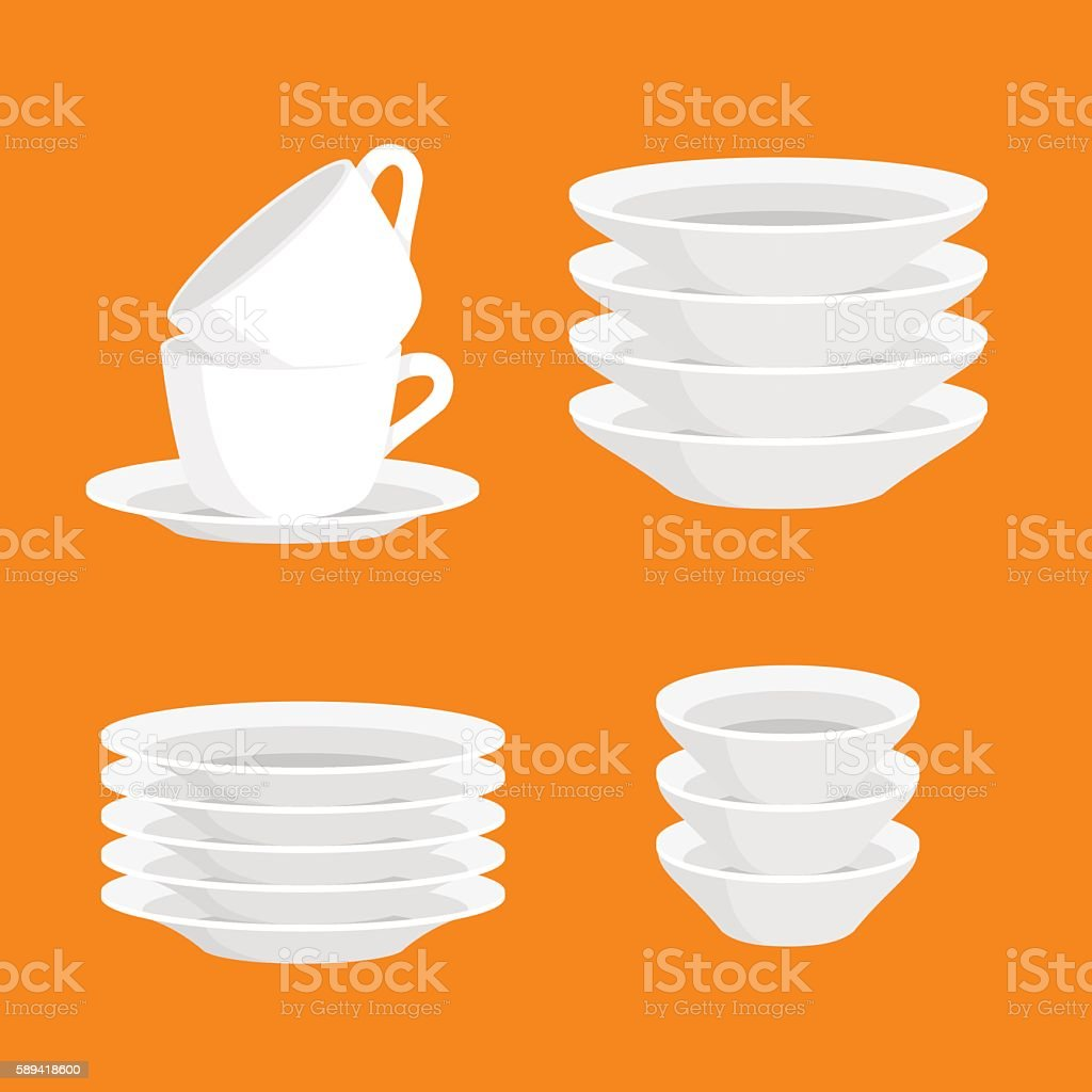 Kitchen household cutlery clean teacups and white ceramic plate stacked vector art illustration