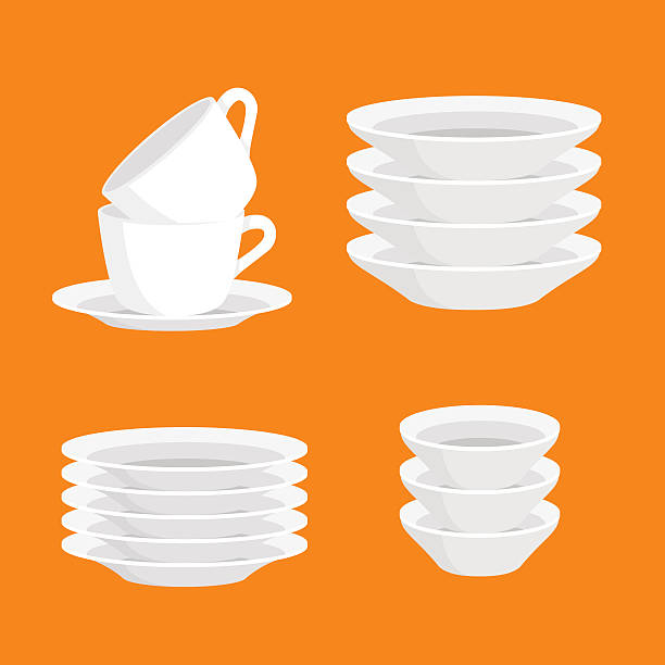 kitchen household cutlery clean teacups and white ceramic plate stacked - glasteller stock-grafiken, -clipart, -cartoons und -symbole