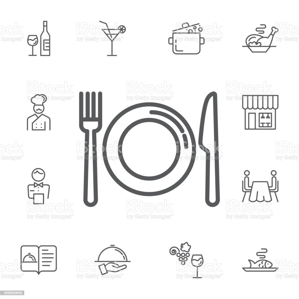 kitchen icon of dish, fork and knife. Simple Set of restaurant Vector Line Icons. vector art illustration