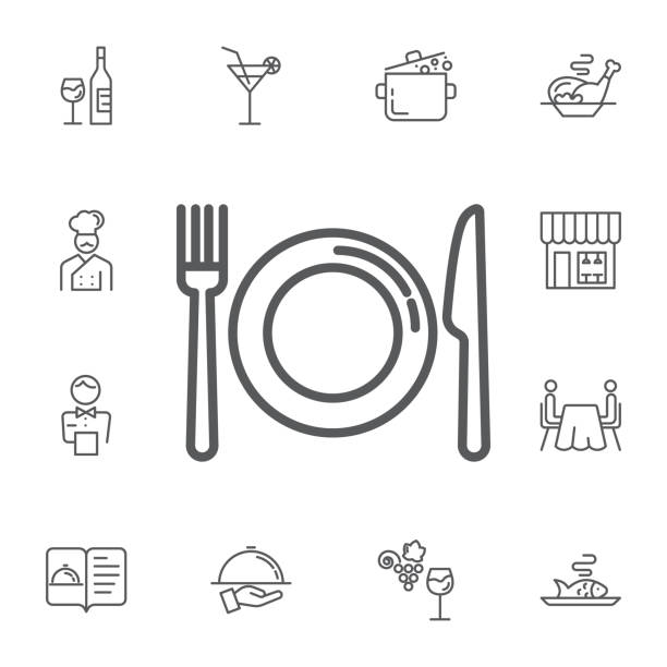 illustrazioni stock, clip art, cartoni animati e icone di tendenza di kitchen icon of dish, fork and knife. simple set of restaurant vector line icons. - cena