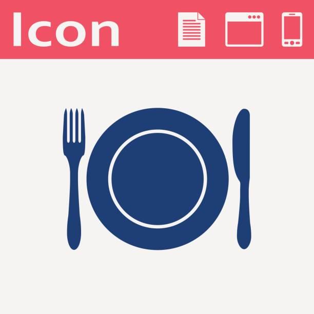 stockillustraties, clipart, cartoons en iconen met keuken icoon van de schotel, vork en mes - gedekte tafel