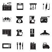 Kitchen Icons. Black Flat Design. Vector Illustration.