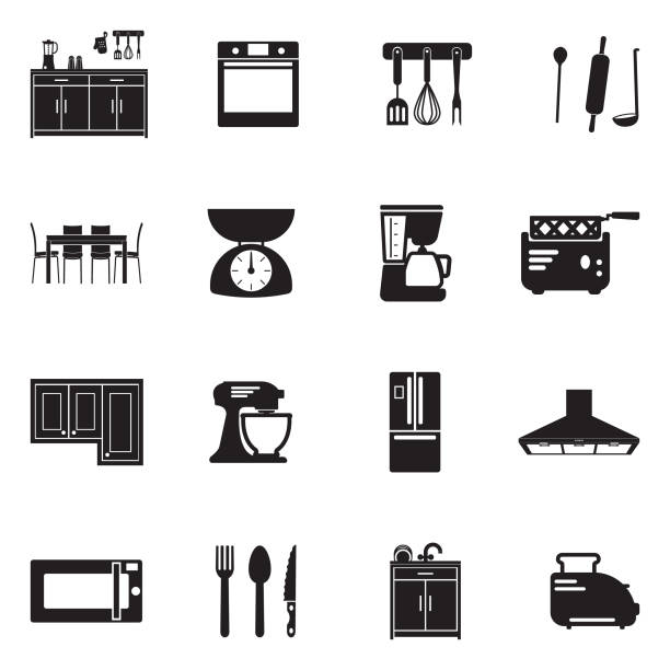 Kitchen Icons. Black Flat Design. Vector Illustration. Kitchen Appliances, Tools, Food, Indoor domestic kitchen stock illustrations
