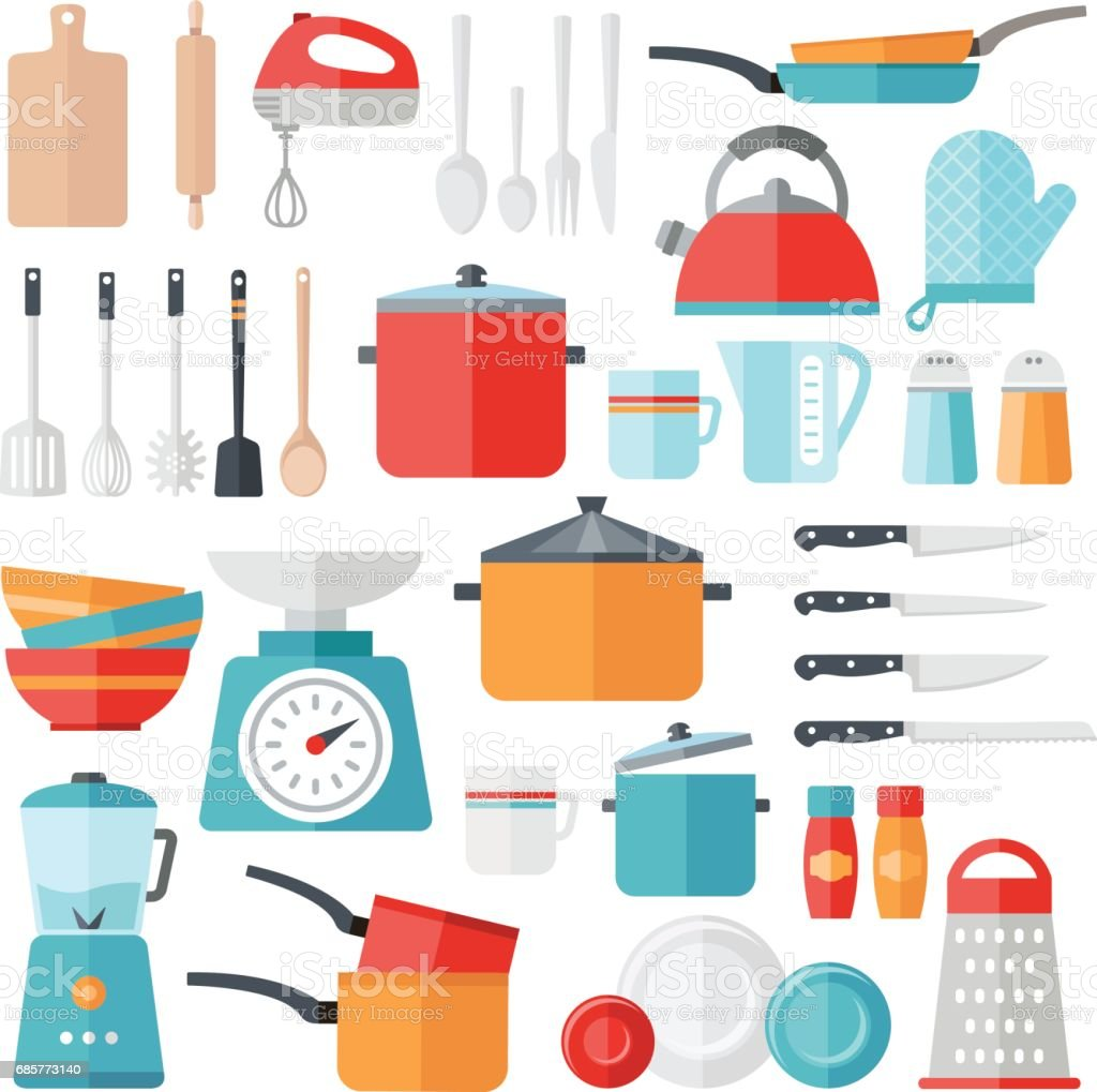 Kitchen Icons Collection - Flat Design royalty-free kitchen icons collection flat design stock vector art & more images of blender