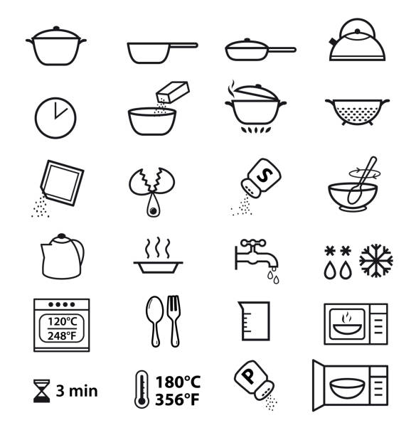 Kitchen icons for cooking instructions. Vector elements on white background. Detailed for any scale. Can be used for packaging, labeling, design, advertising, etc. cooking icons stock illustrations