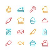 Kitchen icons - line - color series Vector EPS File.
