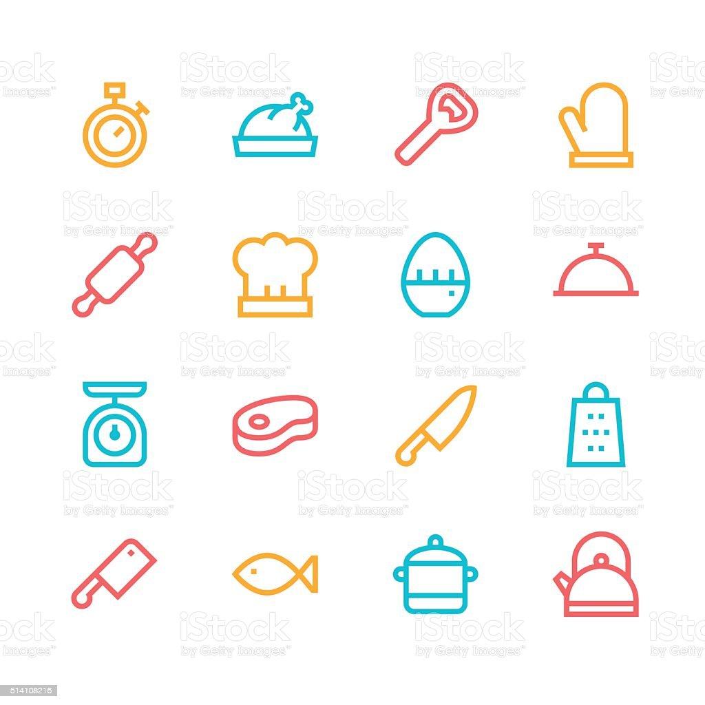 Kitchen icons - line - color series vector art illustration