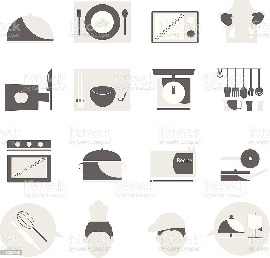 Kitchen icons on white background royalty-free stock vector art