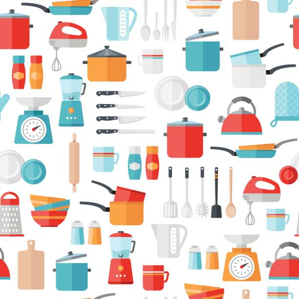 Kitchen Icons Seamless Pattern Kitchen icons seamless pattern. Can be used to illustrate any topic about cooking, food, meal preparation. grater utensil stock illustrations