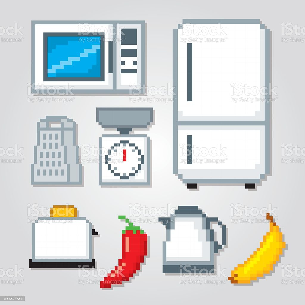 Kitchen Icons Set Pixel Art Old School Computer Graphic