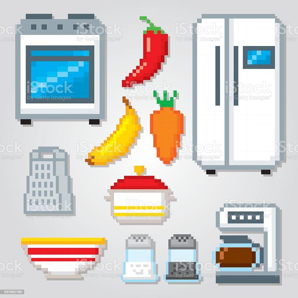 Conjunto De Iconos De La Cocina Píxeles Arte Gráficas Por