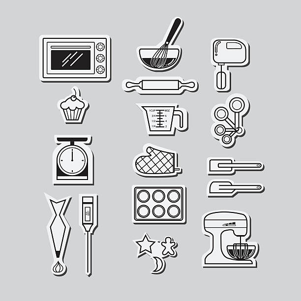 kitchen icons set - mixing bowl stock illustrations, clip art, cartoons, & icons