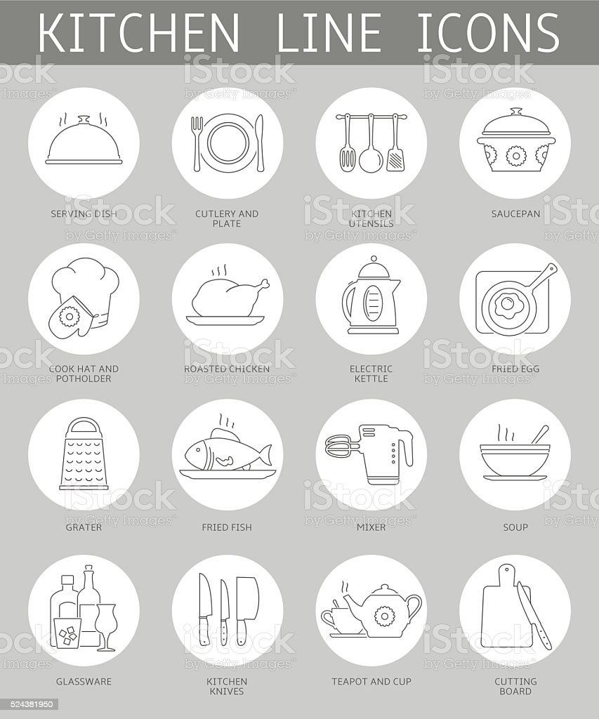 Kitchen icons set vector art illustration