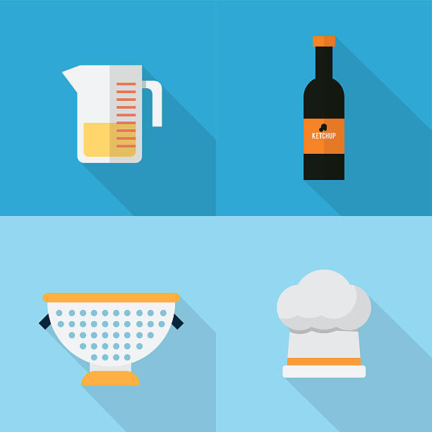 Kitchen Icons Set Set of great flat icons with style long shadow icon and use for kitchen, equipment, electronic and much more. dry measure stock illustrations