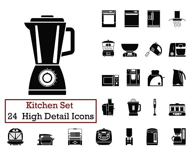 die rund um die küche symbole - küchenmixer stock-grafiken, -clipart, -cartoons und -symbole