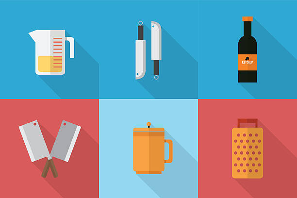 Kitchen Icons Set of great flat icons with style long shadow icon and use for kitchen, equipment, electronic and much more. measuring cup stock illustrations
