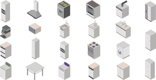 küche-icons - waschküchendekorationen stock-grafiken, -clipart, -cartoons und -symbole
