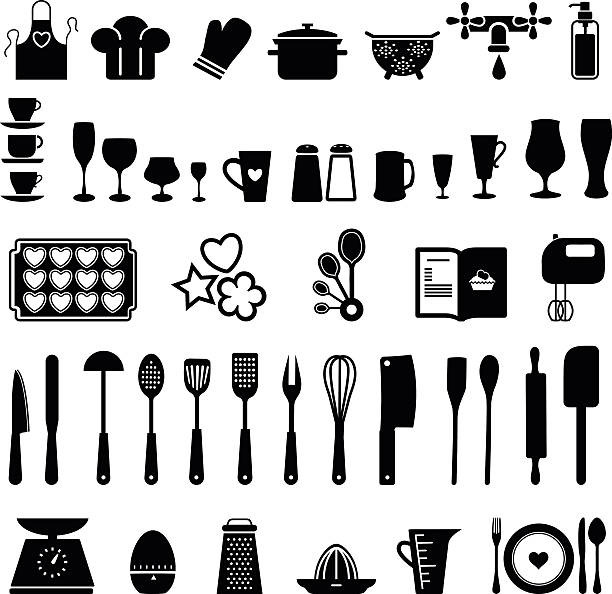 Kitchen icons EPS 10 file, image fully editable cooking utensil stock illustrations