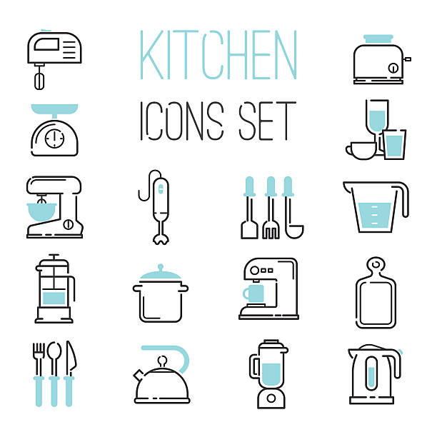 Kitchen icons vector illustration. Kitchen and cooking icons white. Vector illustration kitchen icons appliances for cooking. Kitchen icons electronic appliances, cook, whisk, mix until. Coffee and tea preparation. dry measure stock illustrations