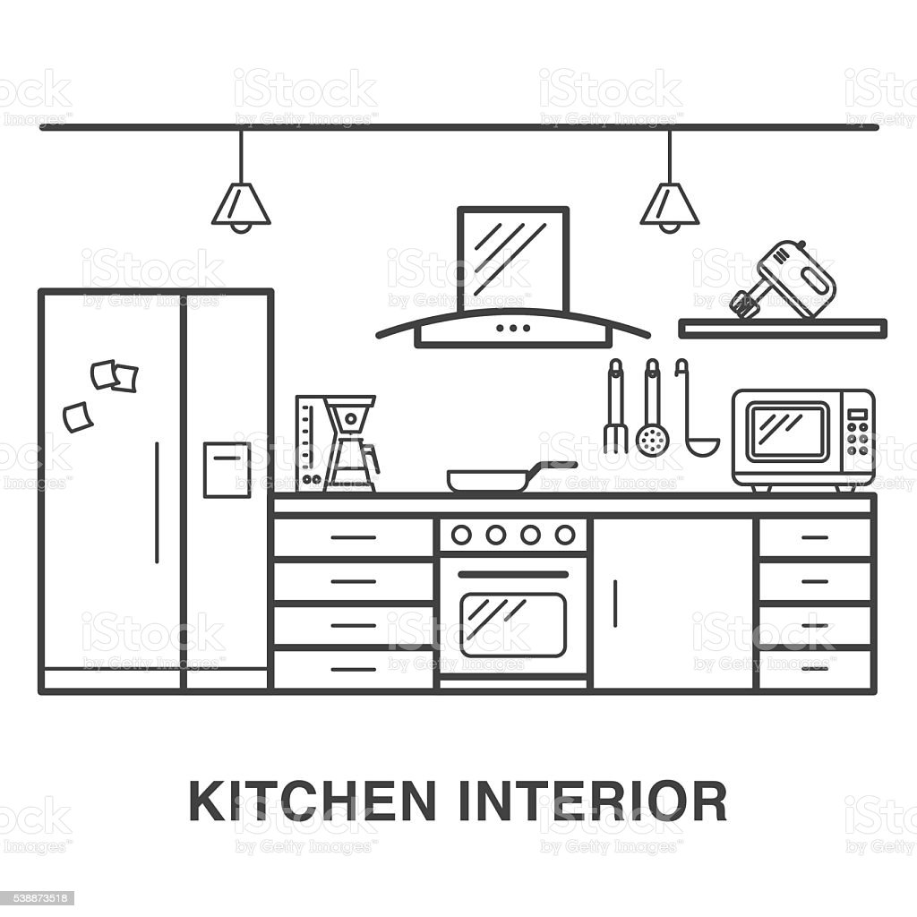 Kitchen Illustration With Appliances In Line Art Style