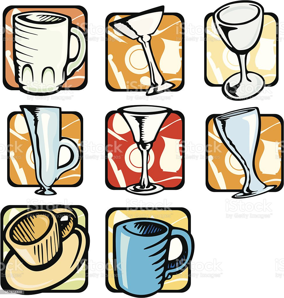 Kitchen Illustrations: Cups & Glasses (Vector) vector art illustration
