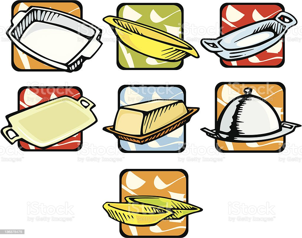 Kitchen Illustrations: Dishes (Vector) royalty-free stock vector art
