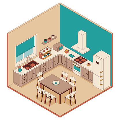 Kitchen in isometric style. Armchairs, furniture and computer