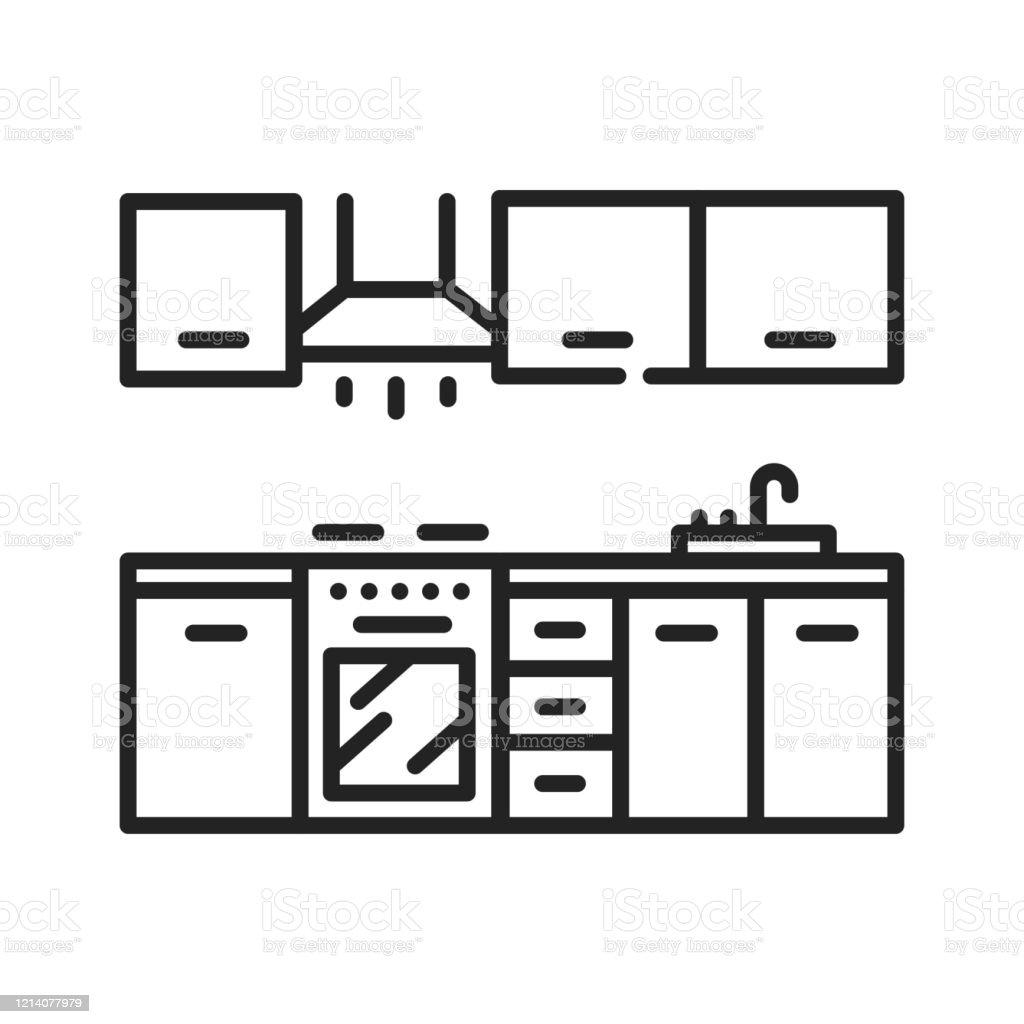 Küche Interier Schwarze Linie Symbol Ein Raum Im Haus Zum Kochen Und Essen  Vorbereitung Verwendet Piktogramm Für Webseite Mobile App Promo Ui Ux