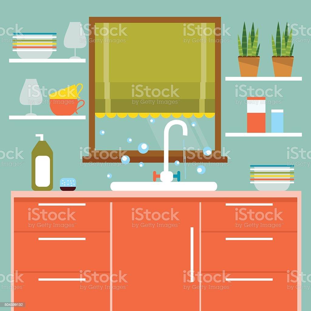 Kitchen interier. Vector Illustration vector art illustration