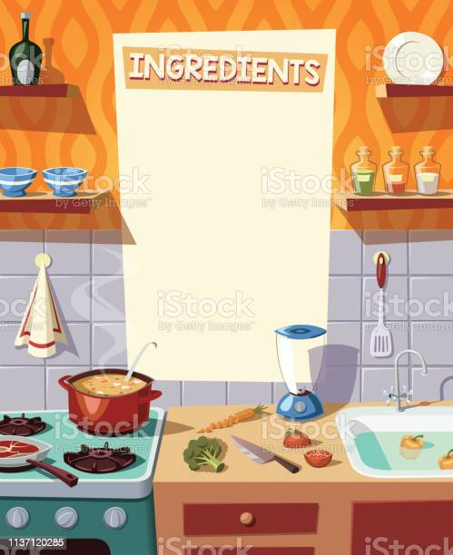 Kitchen interior and cooking ingredients vector illustration vector id1137120285?b=1&k=6&m=1137120285&s=612x612&h=8nmqfjtorf62yszuw2bohmi7yqpwejpcbwlb0m7gblk=