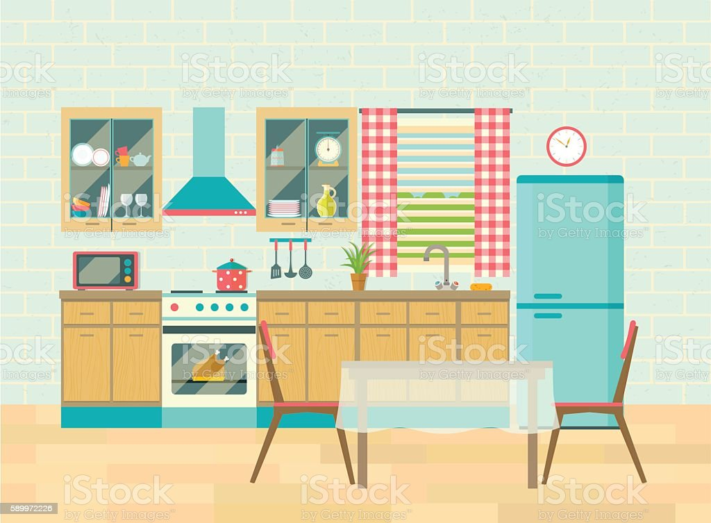 kitchen interior and dining room poster vector flat. Black Bedroom Furniture Sets. Home Design Ideas