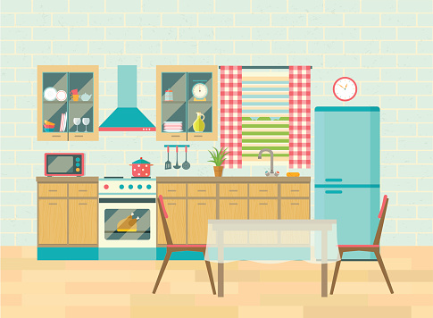 Kitchen Interior And Dining Room Poster Vector Flat Illustration Stock Illustration - Download Image Now