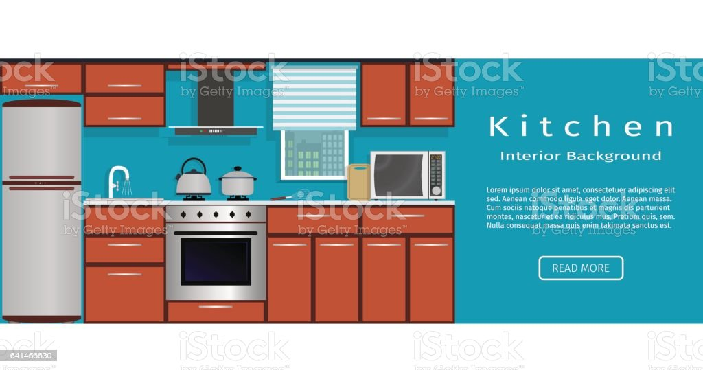 Kitchen Interior Banner For Your Web Design. Housewife Workplace  Organization. Royalty Free Stock