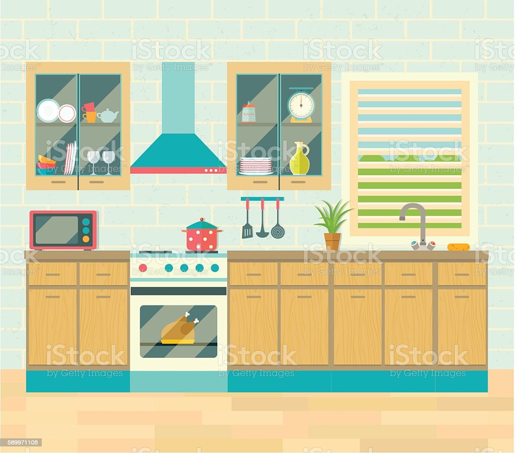 Kitchen Interior Brick Wall And Flooring Flat Vector Illustration
