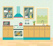 Kitchen interior. Brick wall and flooring. Flat Vector illustration.