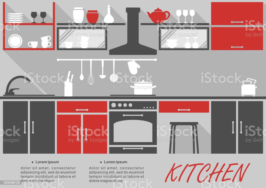 Kitchen interior decor infographic vector art illustration