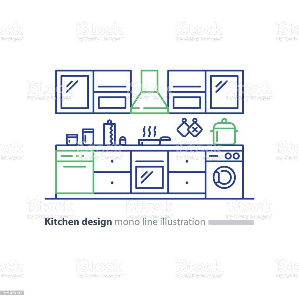 Design Dint Rieur De Cuisine Ensemble De Meubles Plan Darrangement  # Plan Des Meubles