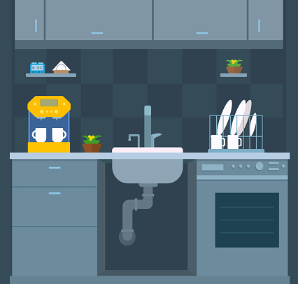 Kitchen interior design. Opened visible sink, sewer pipe. Front view. Wall cabinets, dishwasher, coffee machine, dish dryer, flowerpot. Plumbing maintenance.