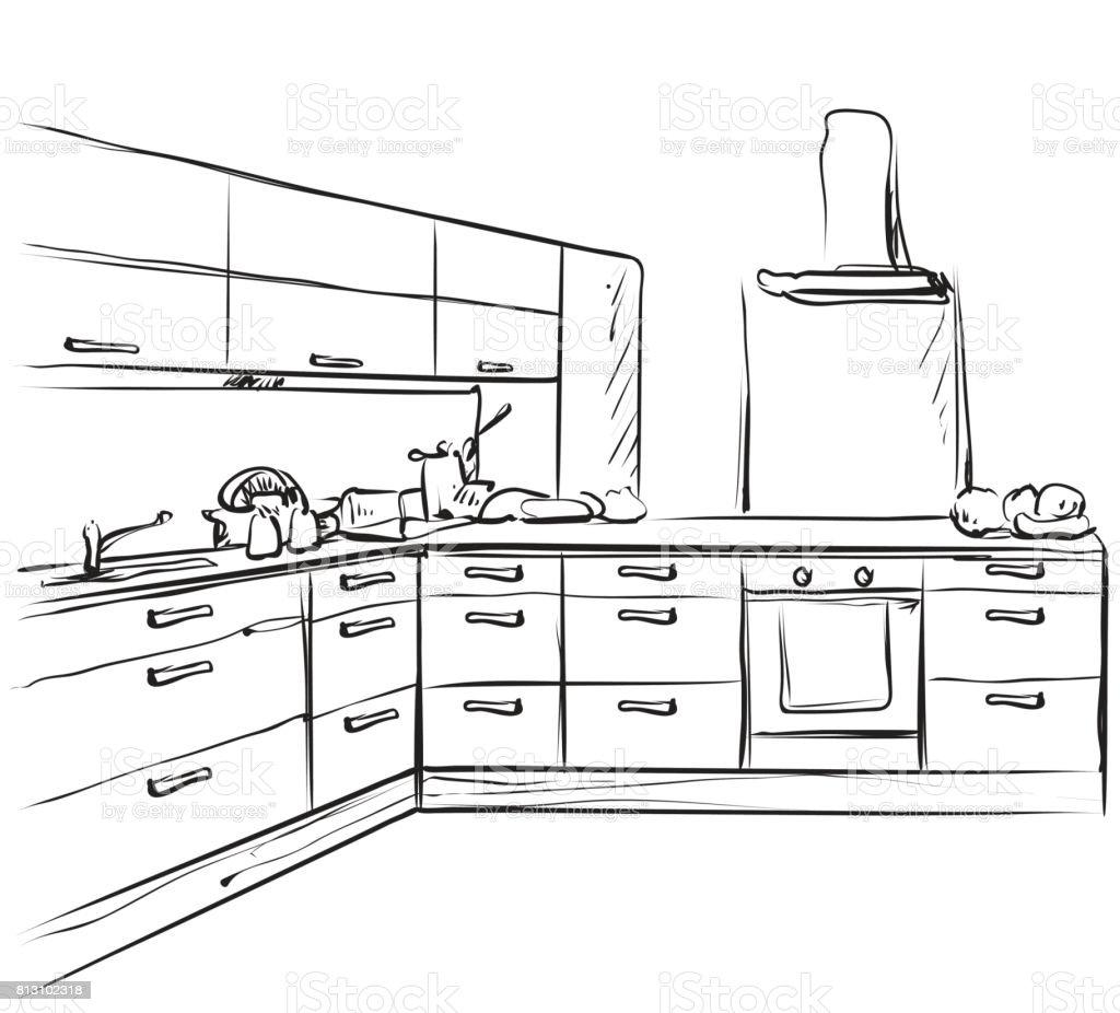 Delightful Croquis De Muebles De Dibujo, Interior De Cocina Ilustración De Croquis De  Muebles De Dibujo