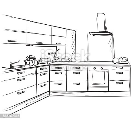 Kitchen Interior Drawing Furniture Sketch Stock Vector Art 813102318