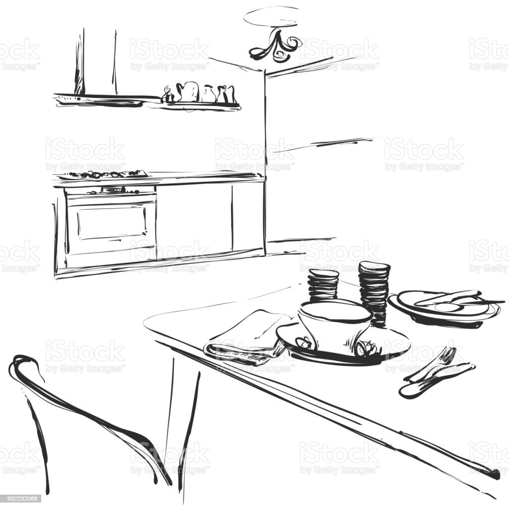 Kitchen Interior Drawing Vector Illustration Dinner Table Stock