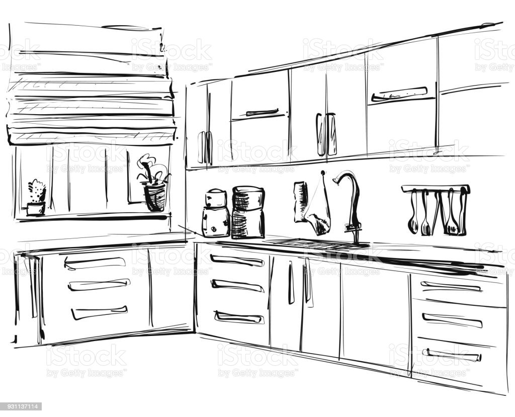 Kitchen Interior Drawing Vector Illustration Furniture Sketch Stock
