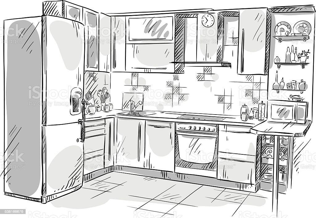 kitchen interior zeichnen vektorillustration stock vektor