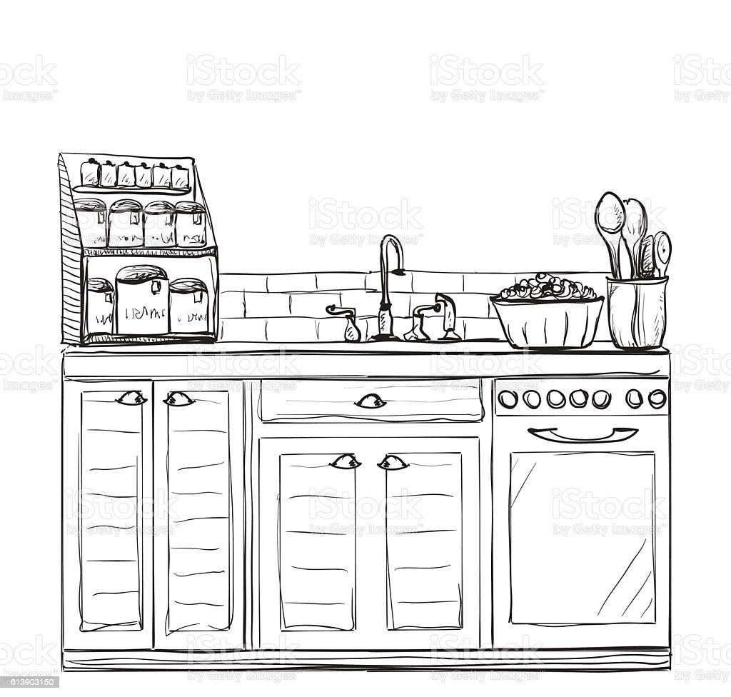 Interno Di Cucina Disegno Di Illustrazione Vettoriale - Immagini ...
