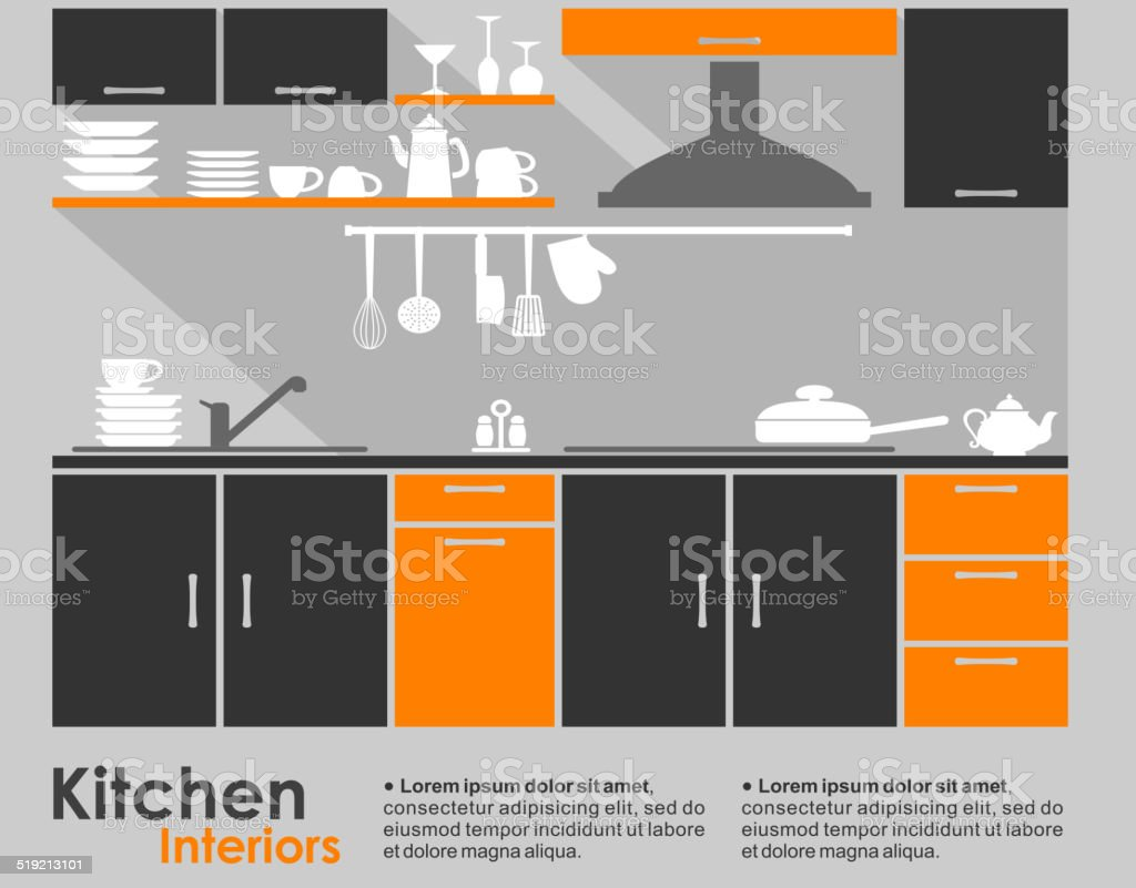 Kitchen interior flat design vector art illustration